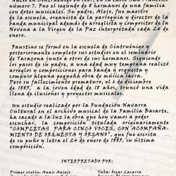 'Concierto de música Sacra', guión